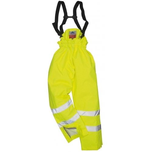 Pantaloni Portwest Bizflame Rain captusiti, antistatici, ignifugi, HI VIS.