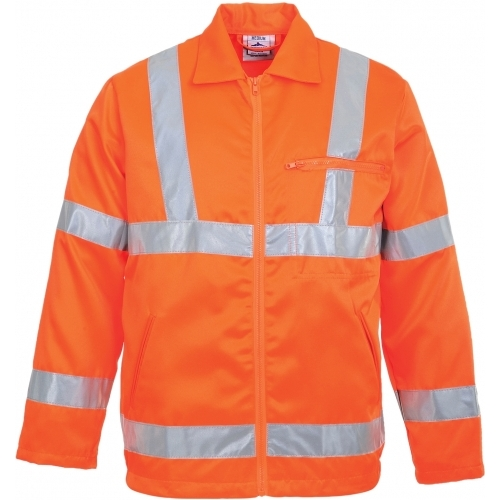Portwest Hi-Vis Poly-cotton Jacket GO/RT