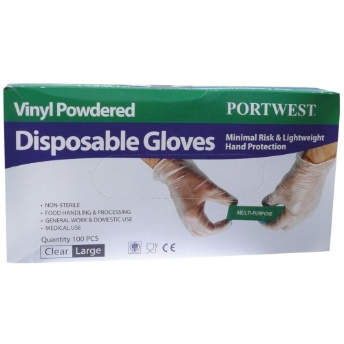 Portwest Disposable Gloves, Vinyl Powdered
