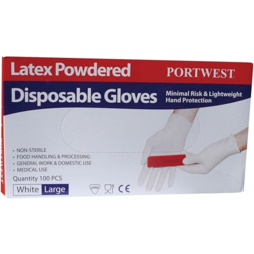 Portwest Disposable Gloves, Latex, powdered A910