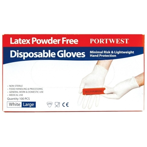 Portwest Disposable Latex Glove, Powder free